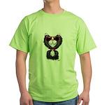 Black-White Cartoon Cat (sg) Green T-Shirt