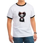 Black-White Cartoon Cat (sg) Ringer T