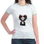 Black-White Cartoon Cat (sg) Jr. Ringer T-Shirt