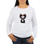 Black-White Cartoon Ca Women's Long Sleeve T-Shirt