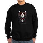 Black-White Cartoon Cat (sg) Sweatshirt (dark)
