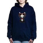 Black-White Cartoon Cat Women's Hooded Sweatshirt
