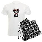 Black-White Cartoon Cat (sg) Men's Light Pajamas