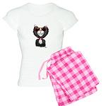 Black-White Cartoon Cat (sg Women's Light Pajamas