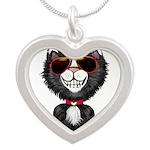 Black-White Cartoon Cat (sg) Silver Heart Necklace