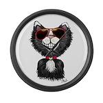 Black-White Cartoon Cat (sg) Large Wall Clock
