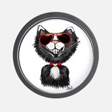 Black-White Cartoon Cat (sg) Wall Clock