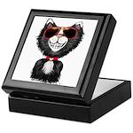 Black-White Cartoon Cat (sg) Keepsake Box