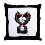 Black-White Cartoon Cat (sg) Throw Pillow