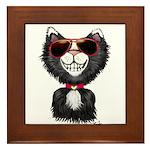 Black-White Cartoon Cat (sg) Framed Tile