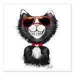 Black-White Cartoon Cat Square Car Magnet 3
