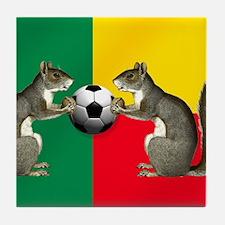 Benin Soccer Flag Tile Coaster