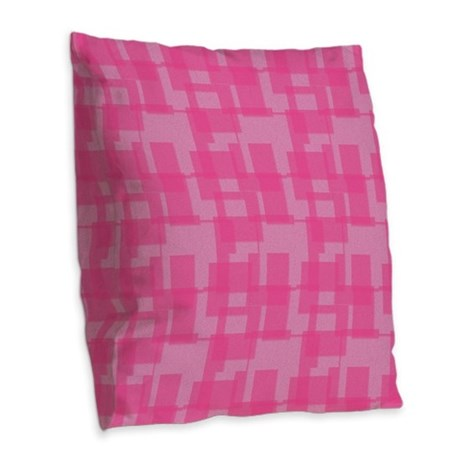 Abstract Pink Squares Burlap Throw Pillow
