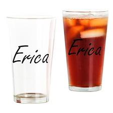 Erica artistic Name Design Drinking Glass
