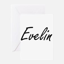 Evelin artistic Name Design Greeting Cards