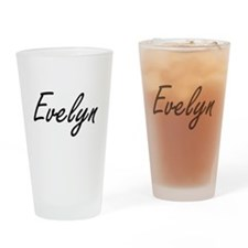 Evelyn artistic Name Design Drinking Glass