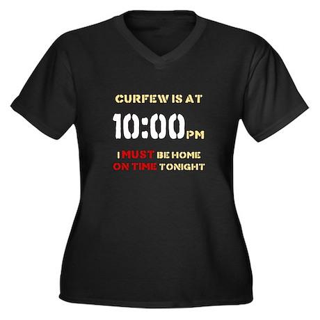 CURFEW Women's Plus Size V-Neck Dark T-Shirt