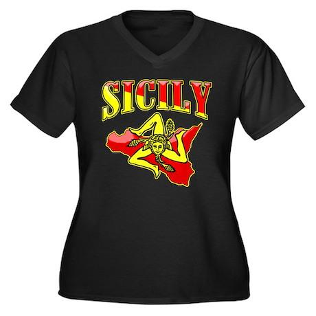 Sicily Sicilian Trinacria Women's Plus Size V-Neck