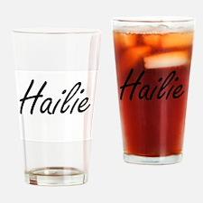 Hailie artistic Name Design Drinking Glass