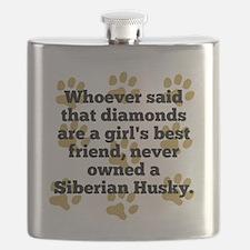Siberian Huskies Are A Girls Best Friend Flask