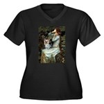 Ophelia's Yorkie (T) Women's Plus Size V-Neck Dark