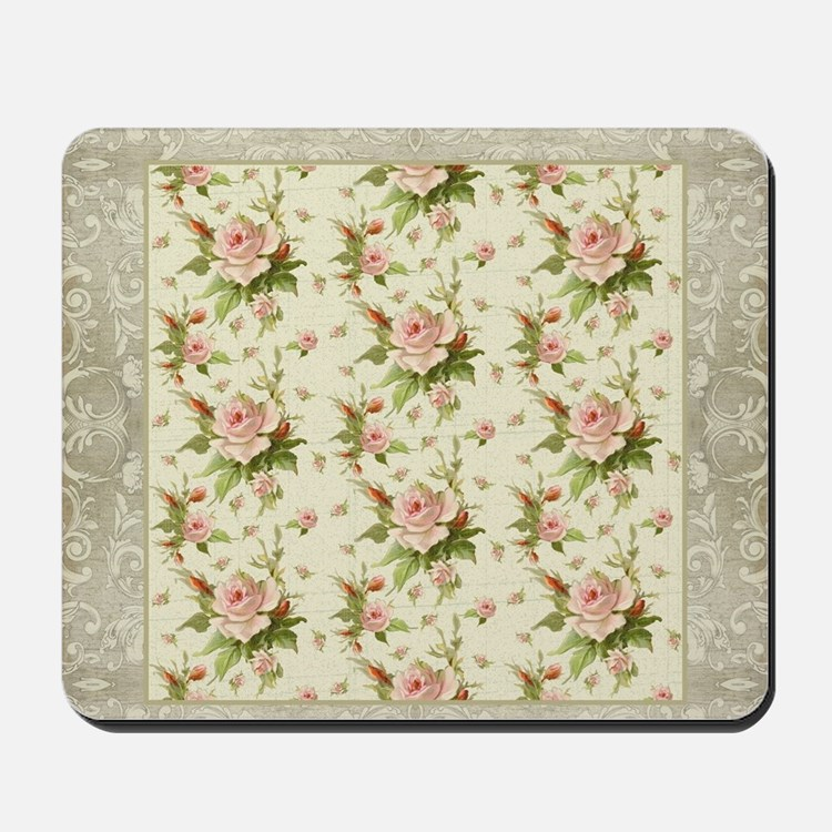 Summer at the Cottage Roses Chintz Swirl Mousepad