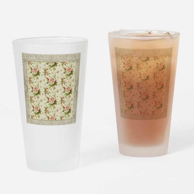 Summer at the Cottage Roses Chintz Drinking Glass