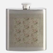 Summer at the Cottage Roses Chintz Swirl Pat Flask