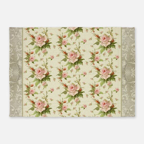 Summer at the Cottage Roses Chintz 5'x7'Area Rug