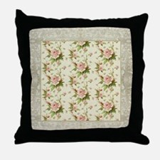 Summer at the Cottage Roses Chintz Sw Throw Pillow