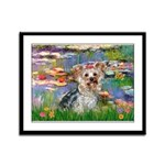 LILIES / Yorkie (T) Framed Panel Print