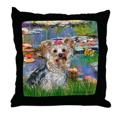 LILIES / Yorkie (T) Throw Pillow