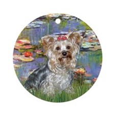 LILIES / Yorkie (T) Ornament (Round)