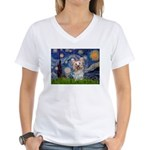 Starry Night Yorkie (T) Women's V-Neck T-Shirt