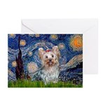 Starry Night Yorkie (T) Greeting Cards (Pk of 10)