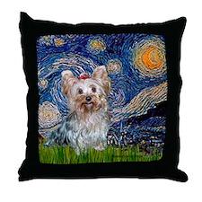Starry Night Yorkie (T) Throw Pillow