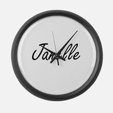 Janelle artistic Name Design Large Wall Clock