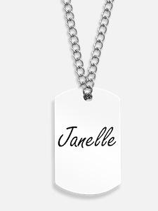 Janelle artistic Name Design Dog Tags