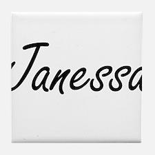 Janessa artistic Name Design Tile Coaster