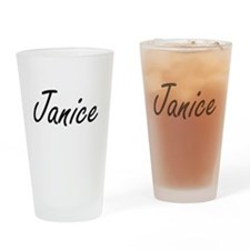 Janice artistic Name Design Drinking Glass