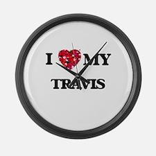 I Love MY Travis Large Wall Clock
