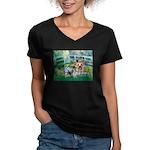 Bridge / Yorkie (T) Women's V-Neck Dark T-Shirt