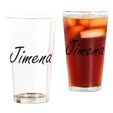 Jimena artistic Name Design Drinking Glass