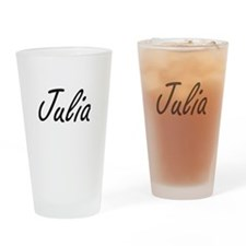 Julia artistic Name Design Drinking Glass