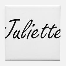 Juliette artistic Name Design Tile Coaster