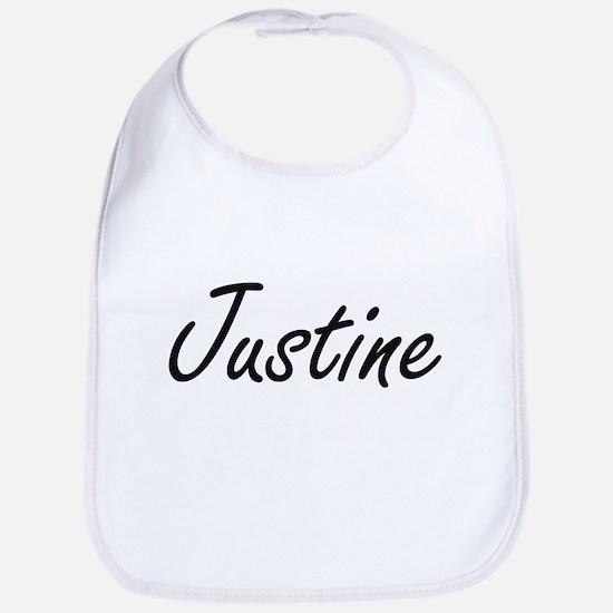 Justine artistic Name Design Bib