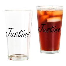 Justine artistic Name Design Drinking Glass