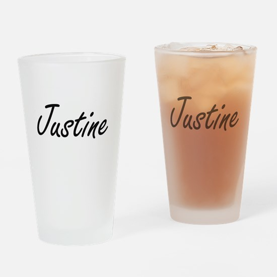 Justine artistic Name Design Drinking Glass