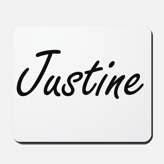 Justine artistic Name Design Mousepad