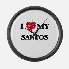 I Love MY Santos Large Wall Clock